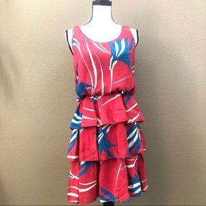 Saraih sleeveless mini tier dress red blue Sz 4